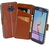 Book-Style Ledertasche Tasche für Samsung Galaxy S6 Edge *ECHT LEDER* Handytasche Case Etui Hülle (Original Suncase) in cognac