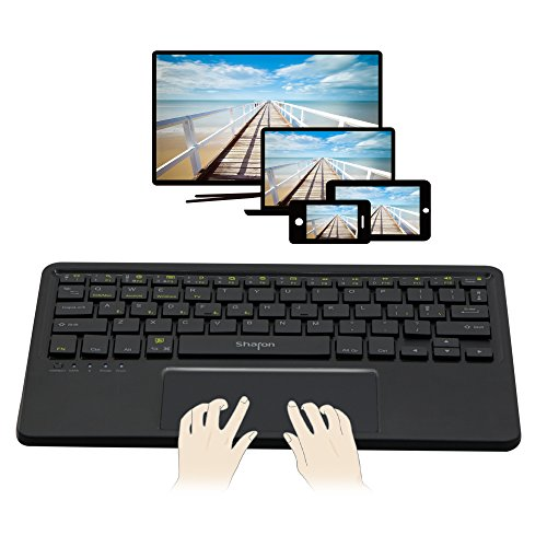 Teclado 4 en 1 Bluetooth para Smart TV Tablet Smartphone | Uso con 5 dispositivos al mismo tiempo | Android, iOS/Mac OS X, Windows 8 & 10 | Teclado inalámbrico con Multi-Gesture Touchpad | QWERTY inglés (Configuarción en español)