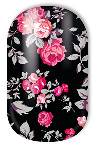 MISS SOPHIE'S Nagelfolie -'Sleeping Beauty', Blumen Rot-Schwarz, 20 selbstklebende Nail Wraps