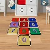 Teppichfliesen Zahlen - Kinderteppich mit 10 bunten Fliesen Größe 30 x 30 cm