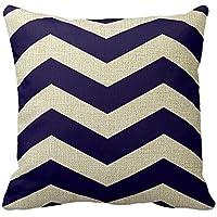 Romantichouse Cotton Linen Square Decorative Modern Chevron Stripes In Cobalt