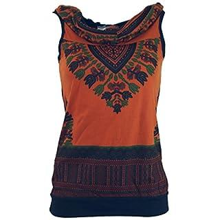 Guru-Shop Kapuzen Dashiki Tank Top, Goa Festivaltop, Damen, Rostorange, Baumwolle, Size:M/L (38/40), Tops, T-Shirts, Shirts Alternative Bekleidung