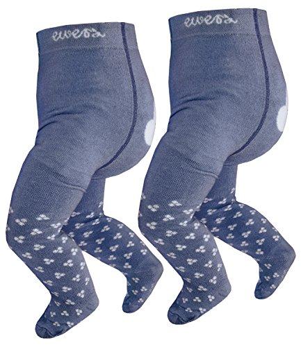 EveryKid Ewers 2er Pack Babystrumpfhose Jungen Mädchen Sparpack Strumpfhose Markenstrumpfhose für Babys (EW-905020-W17-BU2-3600-3600-56) in Jeans-Jeans, Größe 56 inkl Fashionguide - Niedliche Strumpfhose Strumpfwaren