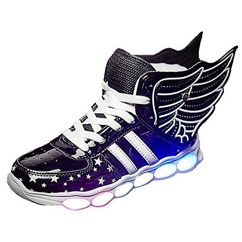 ALSYIQI Unisex Kids Boy's Girl's Shoes LED USB Charge Light Up MD Sole Sneaker W-Black