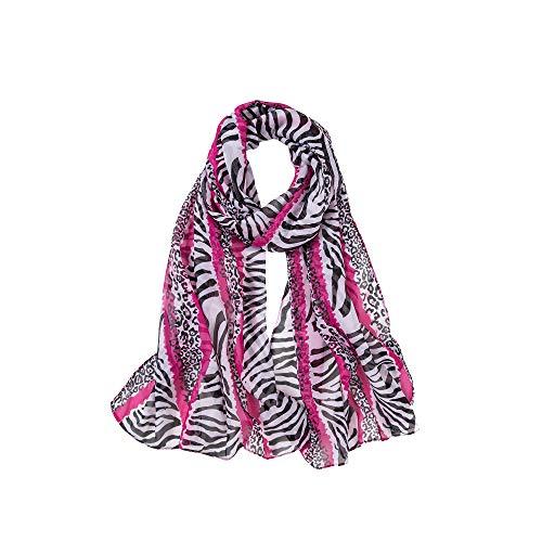 ALBERTO CABABLE Superweicher Seiden Chiffon Stola Braut Hochzeit Abendkleid Schal Wickeltuch Schal Pink Leopard