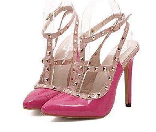 Wealsex damen stiletto sandalen Nieten spitze Absätze Rosa