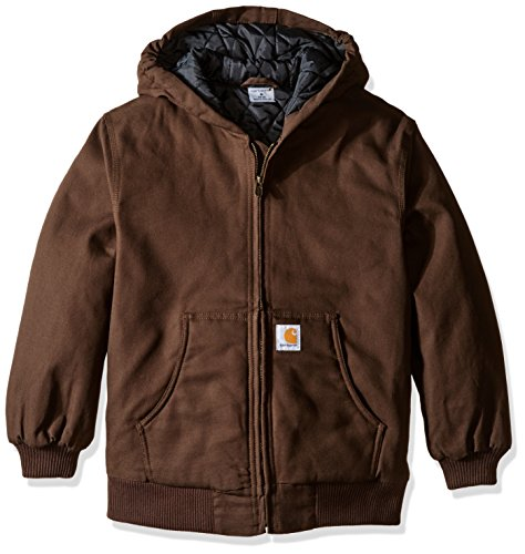Carhartt Boys' Big Quilt Lined Work Active Jacket, Dark Brown, Large (14/16) -