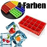 EMOTREE 4 Farbe 15er Eiswürfelform Kuchenform Muffinform Backform Pudding Silikon Trüffel