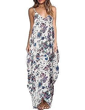 Yidarton Donna Vestito Lungo Senza Maniche Stampa Fiore Maxi Boho Beach Dress