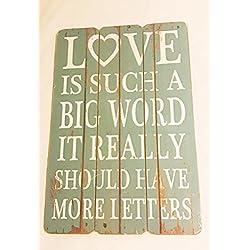Shabby Chic cartel de madera decoración para el hogar (amor es como una palabra grande...) 30x 45cm