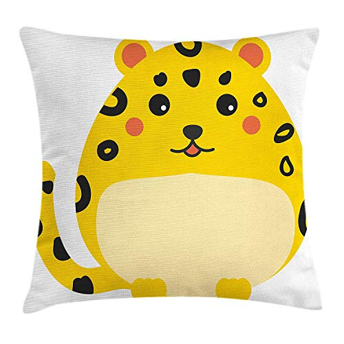 Zhiziqiu Kawaii Throw Pillow Cushion Cover Cute Chubby Leopard With Black Spots Cartoon Style African Animal Drawing Decorative Square Accent Pillow