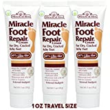 3-Pack Miracle Of Aloe Miracle Foot Repair Cream 1 Oz With 60% Pure Organic Aloe Vera Softens Dry Cracked Feet...