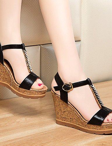 UWSZZ IL Sandali eleganti comfort Scarpe Donna-Sandali-Ufficio e lavoro / Formale / Casual-Zeppe / Spuntate-Zeppa-Finta pelle-Nero / Dorato golden