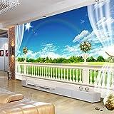 TV fond mur faux fenêtre grande paysage mural papier peint océan plage TV chambre à coucher en trois dimensionsWallpaper 3D Murale pâte coller Décoration wallpaper Chambre 3D Poster-300cm×210cm