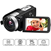 "Camcorder Camera Full HD 1080p 24.0 MP Video Camera 3"" LCD Rotatable Screen Digital Camera 16x Digital Zoom Pause Function with Remote Control"