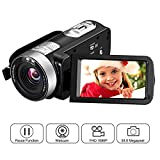 Videokamera Full HD Video Camcorder 1080p 24,0 MP 3 Zoll LCD drehbarer Bildschirm Digitale Camcorder 16x Digital Zoom Pause Funktion Fernbedienung Videorekorder