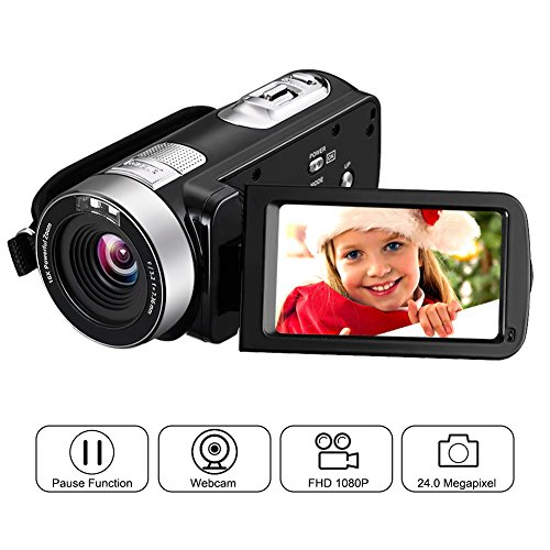 Videokamera Full HD Video Camcorder 1080p 24,0 MP 3 Zoll LCD drehbarer Bildschirm Digitale Camcorder 16x Digital Zoom Pause Funktion Fernbedienung Videorekorder (Hd-video-camcorder)