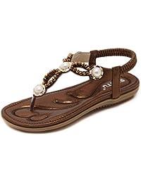 SUNAVY Damen Böhmen Bling Sommer Flach Sandalen mit Strass Pearl Peep Toe Flip Flops Zehentrenner,Silber,EU 36