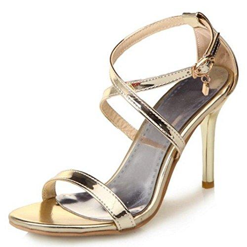 COOLCEPT Damen Mode Kreuz Riemchen Sandalen Stiletto Open Toe Schuhe Gr Gold