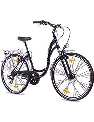 KCP - PRIMAVERA Bicicleta de paseo retro para mujer, tamaño 28'' (71,1 cm), color negro, 7 velocidades