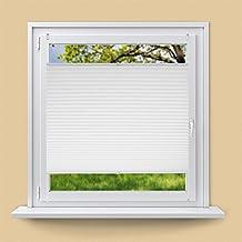 ECD Germany Plissee 75 x 100 cm Weiß Klemmfix ohne Bohren für Sonnen- und Sichtschutz Weiß inkl. Befestigungsmaterial EasyFix Jalousie Verdunklungsrollo Rollo