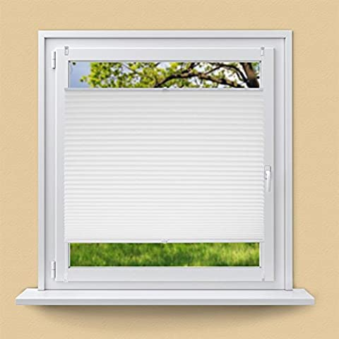 ECD Germany Plissee 50 x 100 cm Weiß Klemmfix ohne Bohren für Sonnen- und Sichtschutz Weiß inkl. Befestigungsmaterial EasyFix Jalousie Verdunklungsrollo