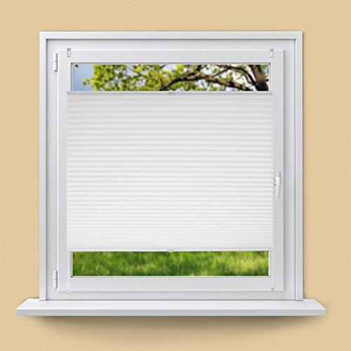 ECD Germany Plissee 60x200cm Weiß Klemmfix ohne Bohren für Sonnen- und Sichtschutz Weiß inkl. Befestigungsmaterial EasyFix Jalousie Verdunklungsrollo Rollo