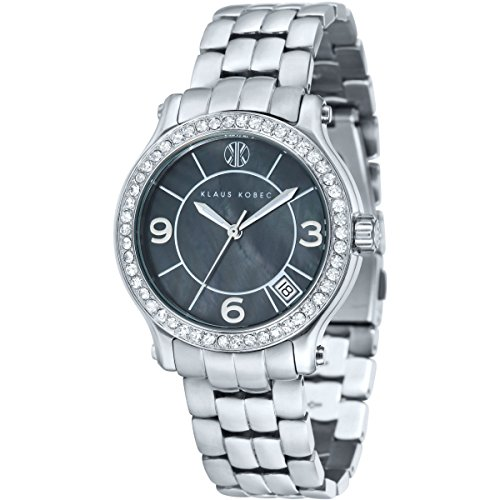 Ladies Klaus Kobec Venes Watch with Black Mother of Pearl Dial and Stainless Steel Bracelet - KK-10019-11