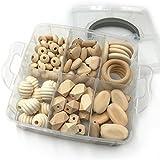 Coskiss Gioielli fai da te Infermieristica Combinazione pacchetto fusione di legno Cuori Perle spirale Oblong geometriche perle di legno di rettangolo ovale piatto Chips Beads Abacus baby Massaggiagengive Toys Set (A112)