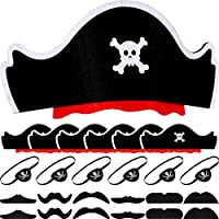 WILLBOND 24 Pieces Pirate Costume Set Skull Print Pirate Captain Hat Eye Patch Fake Moustache for Halloween Pirate Themed Party Cosplay Dress