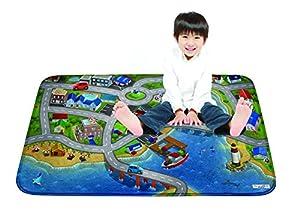 House Of Kids 86134-E3 - Alfombrilla de Juego Ultra Suave (130 x 180 cm), diseño de Ciudad de Harbor, Color Negro