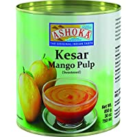 Ashoka Pulpa de Mango Kesar, Azucarado - Paquete de 12 x 850 gr - Total: 10200 gr