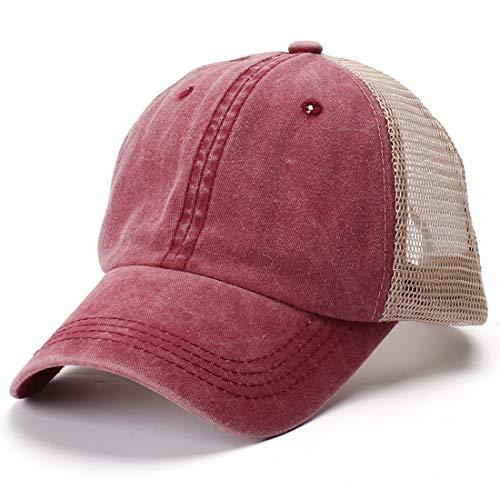 Yixda Vintage Snapback Mesh Baseball Cap Sonnenhut Verstellbar Trucker Kappe (Weinrot) Mesh-cap Vintage