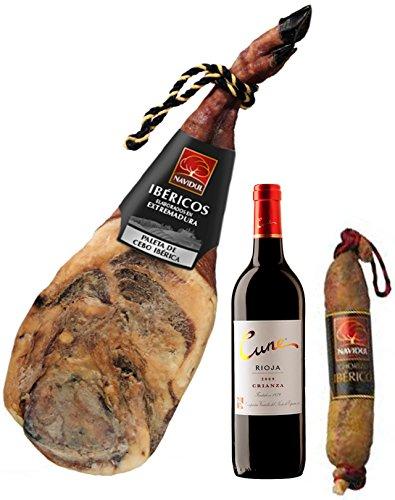 """Cesta de Navidad Navidul compuesto por 1 Paleta Ibérica Navidul de 5 kg, 1 Botella vino Rioja """"Cune"""", 1 Chorizo Ibérico 250gr."""