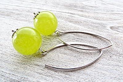 Boucles d'oreilles argent 925 italien, pendantes jade vert - jaune, bijoux classiques, bijoux pierres de gemmes, cadeau pour elle