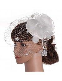 44a1f32e1c318 Eeayyygch Sombrero - señoras Tocado de otoño e Invierno Dama británica  Noble Sombreros Malla Gasa Material Banquete Boda señoras…