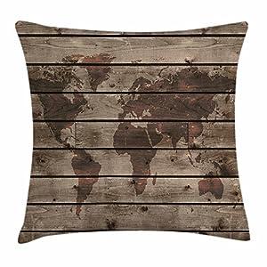juchenjixie – Funda de cojín con diseño de mapa rústico del mundo, reflectante en forma de Atlas Mundial sobre roble forrado horizontal, decoración de la región del espacio, funda de almohada cuadrada decorativa, 45,7 x 45,7 cm, color marrón