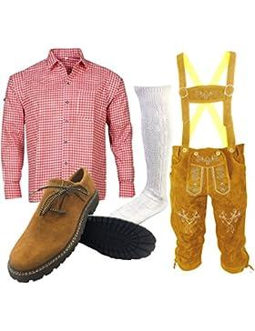 B1 Trachtenset (Hose +Hemd +Schuhe +Socken ) Bayerische Lederhose Trachtenhose Oktoberfest Leder Hose Trachten