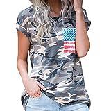 feiXIANG Mode Frauen Damen Kurze ärmel t - Shirt mit Tasche Bluse Tarn Hemd (S, Tarnung)