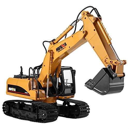 cooshional Excavadora Juguete Control Remoto 15 Canales Tractor de Construcción con Transmisor de 2.4Ghz y Pala Metálica