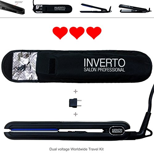 INVERTO REVOLUTION Black Inverto PRO Ceramic Tourmaline and Titanium Flat Iron Hair Straightener Curler Free Thermal Pouch, Euro Travel Adapter, Worldwide 110-220v 450°f Great for Keratin Treatments and Hair Curling