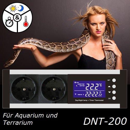 Digitaler Thermostat Thermoregler Temperaturregler Timer Alarm Heizen/Kühlen Tag-/Nachtmodus Reptilien Terrarium TMT-200 Pro TX2