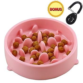 Joyoldself Gamelle d'alimentation Lente Gamelle Anti-glouton slow Feed avec Clicker Chien pour Chiens Chat, Rose (Rose)