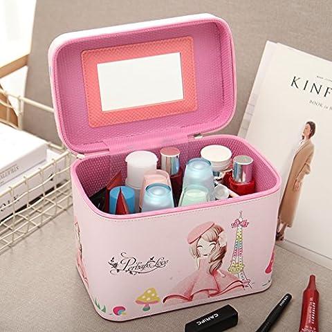 Sac cosmétique cosmétique portable mobile coréen fort dans la boîte de stockage de grande capacité professionnelle portable sac paquet vanité ,American girl,accès facile