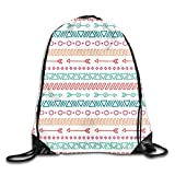 Drawstring Backpack Gym Bags Storage Backpack, Aztec Maya Ethnic Pattern and Triangle Geometric...