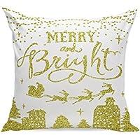 Housses de coussin, taies d'oreiller, Honestyi de Noël Super Doux carré Couvre-lit Taie d'oreiller décoratif Housse de coussin–Lin–45cm x 45cm/45x 45cm 45cm x 45cm C