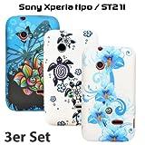 zkiosk 686Coque Set (Lot de 3) pour Sony Xperia tipo ST21i Design Sélection 17