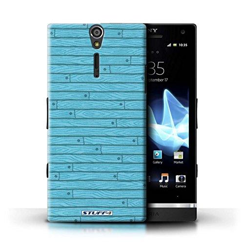 Kobalt® Imprimé Etui / Coque pour Sony Xperia S/LT26i / Beige conception / Série Motif Bois Turquoise