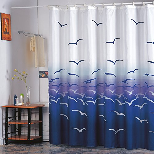 mmel Duschvorhang - Anti-Bakteriell, waschbar, wasserdicht, mit 12 Duschvorhangringen - Polyester,