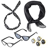 Beelittle 50's Costume Accessories Set Sciarpa in Chiffon degli Anni '50 Cat Eye Glasses Bandana Tie Headband Drop DOT Earrings (Nero)